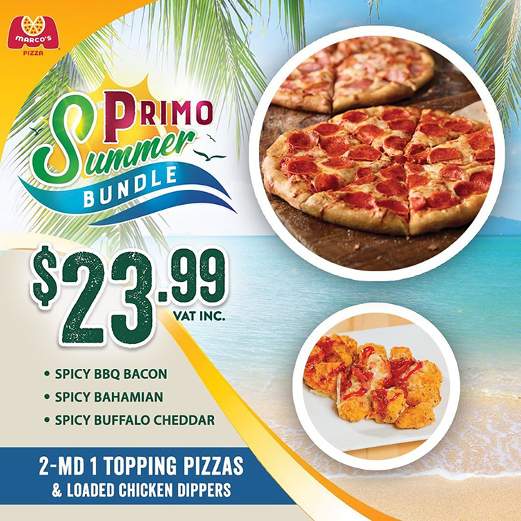 NEW AT MARCO'S PIZZA - Helloooooo Primo Summer Enjoy 2 medium 1 topping pizzas and loaded chicken dippers for only $23.99.