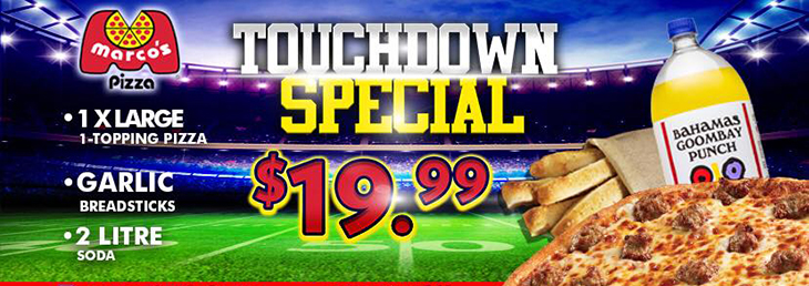 You can get one XL 1-topping pizza, garlic breadsticks and a 2 litre soda for only $19.99!