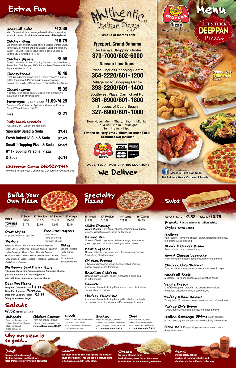 Marco Pizza Bahamas Menu