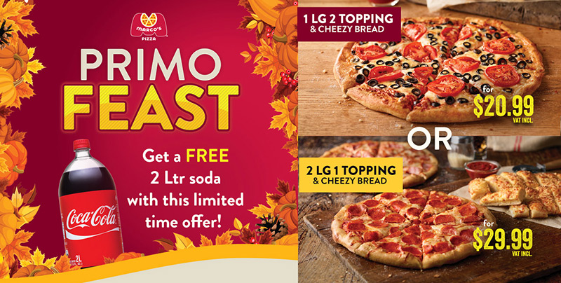 NEW AT MARCO'S PIZZA - Primo Feast
