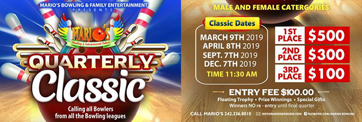 Quarterly Bowling Tournament at Marios Bowling and Entertainment Palace.