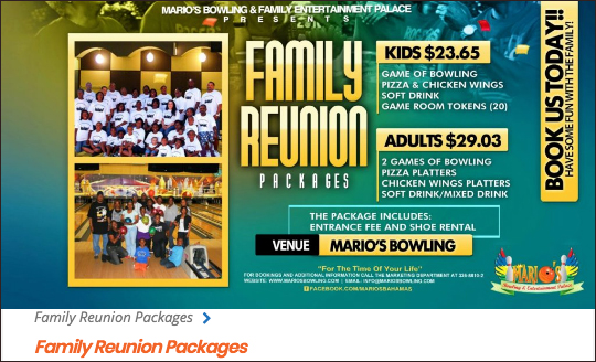 Click For Mario's Family Reunion Packages