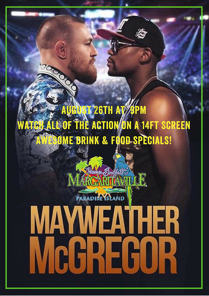 Mayweather Vs. McGregor| Showing on a 14 ft screen. We will be offering beer and drink specials.