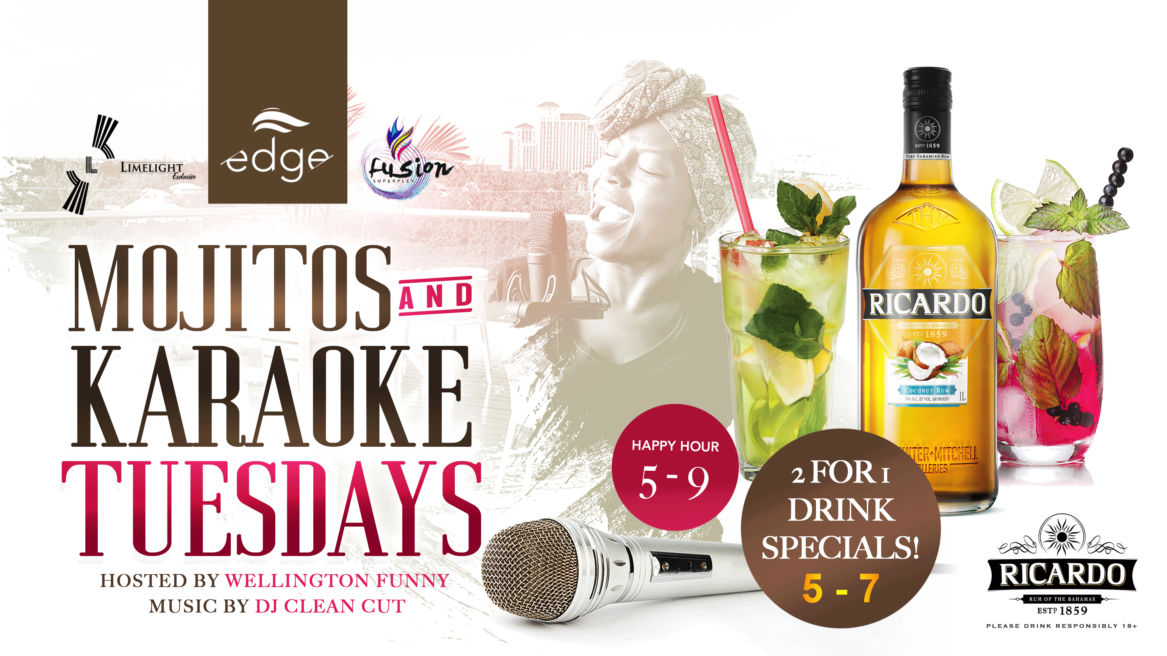 Mojistos and Karaoke Tuesdays at Fusion Superplex