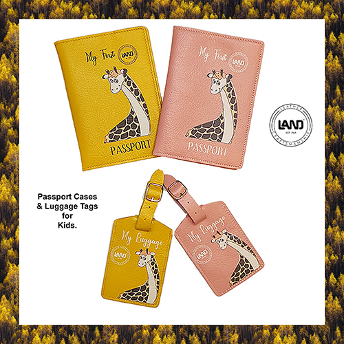 For the budding Traveler from LAND,  Passport Cases and Luggage Tags for Kids at The Brass & Leather Shops