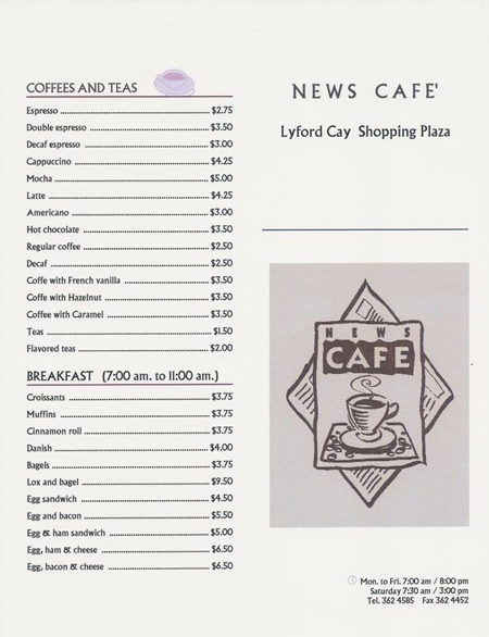 News Cafe Bahamas Menu