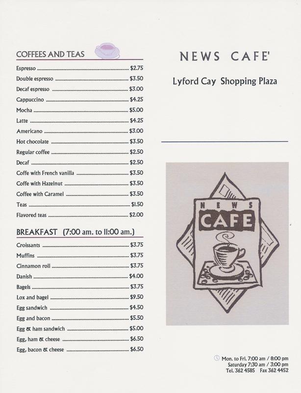 Cafe Milano Bahamas Menu