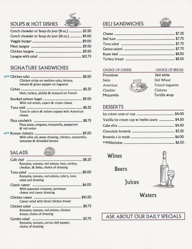 Cafe Milano Nassau Bahamas Menu