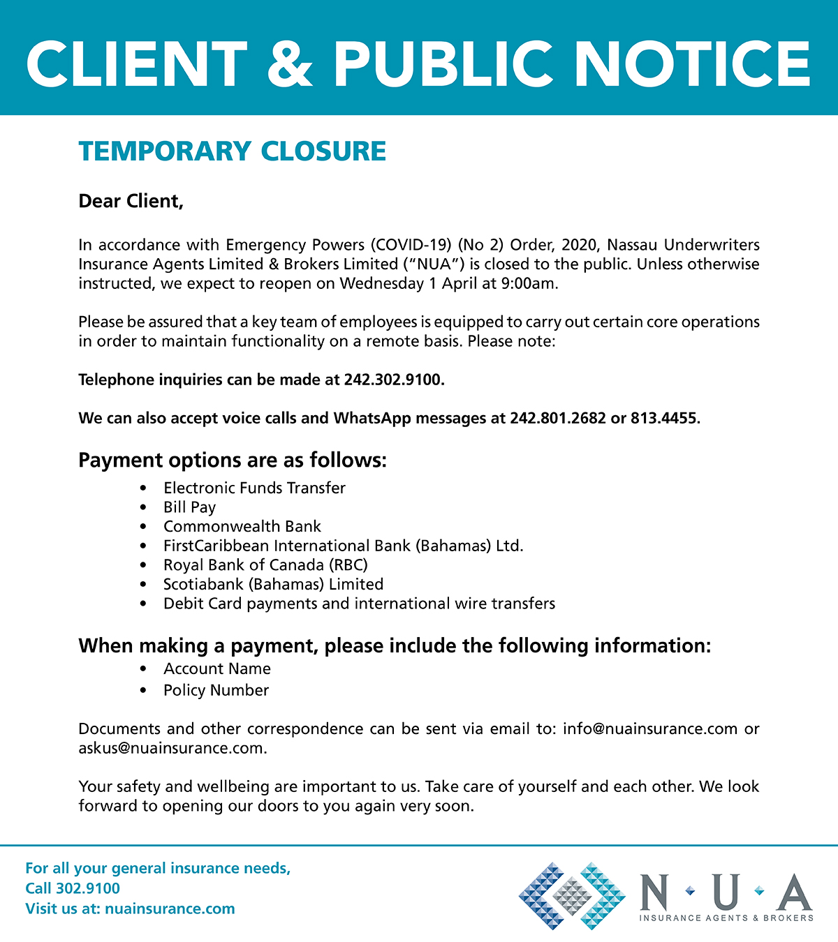 NUA Insurance Agency & Brokers Notice of Office Closure
