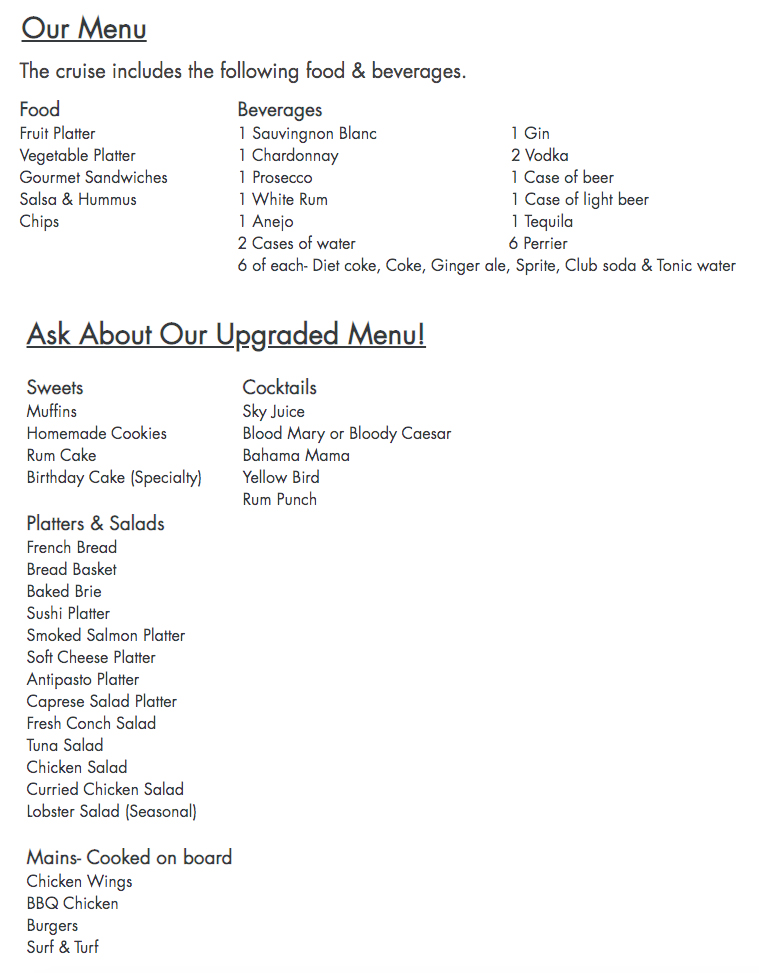 The Catamaran Menu