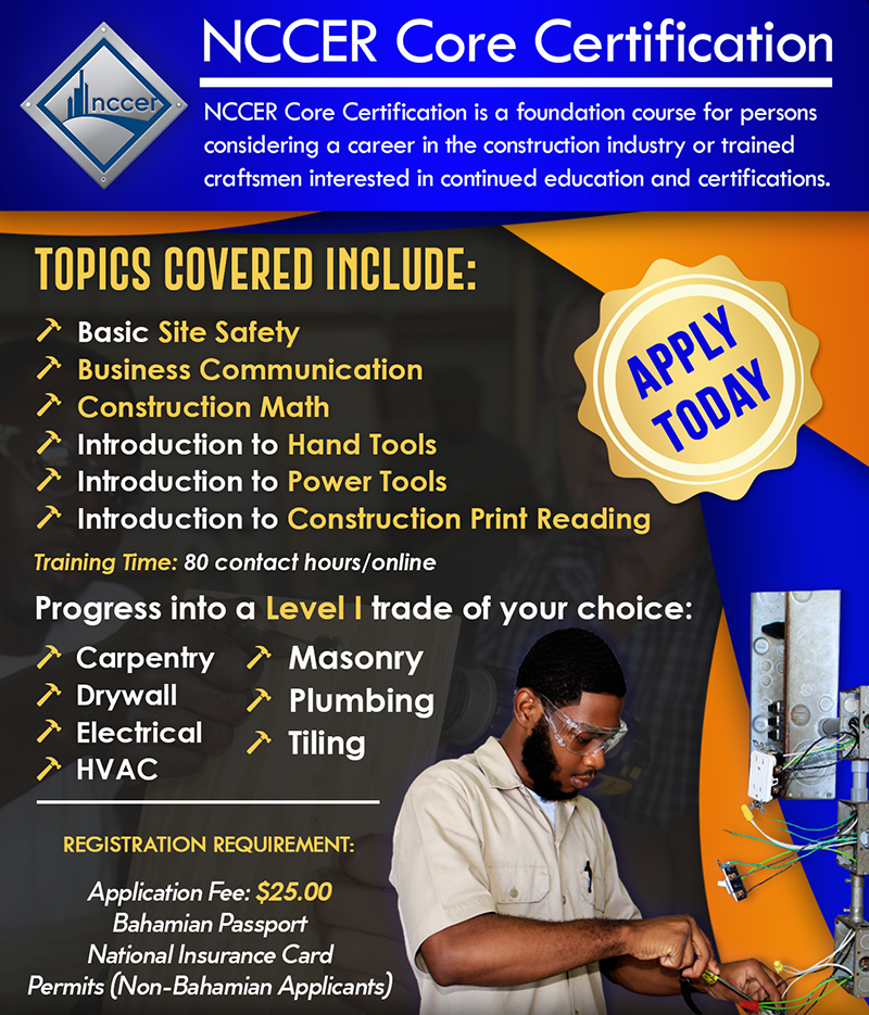 NCCER CORE Certification at Bahamas Technical & Vocational Institute (BTVI)