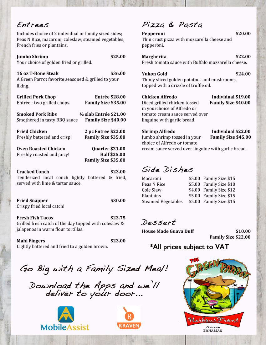 Green Parrot Harbour NEW Take Out Menu