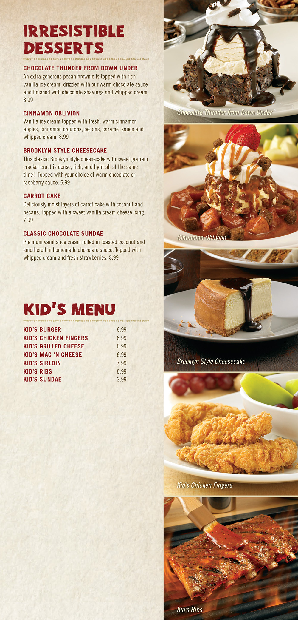 Outback Steakhouse Dinner Menu