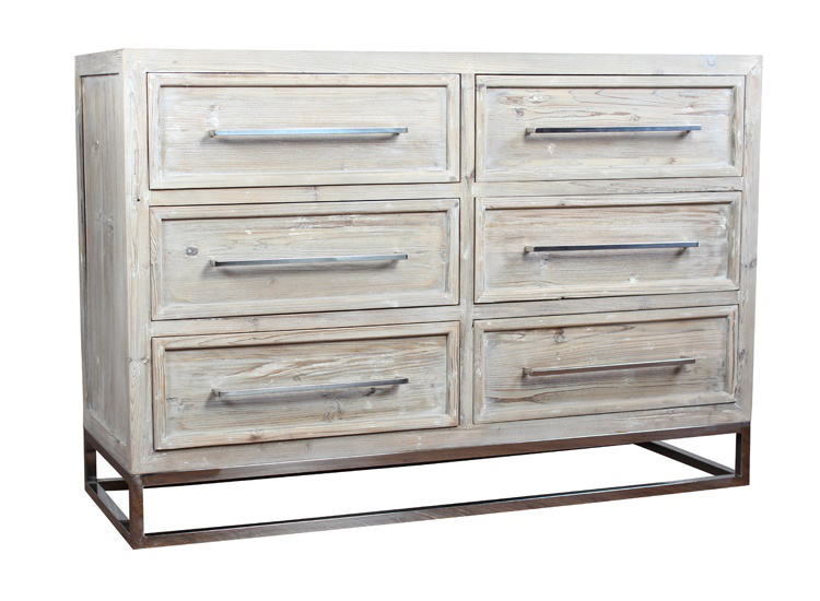 Green-washed fir six-drawer dresser with iron feet and pulls.