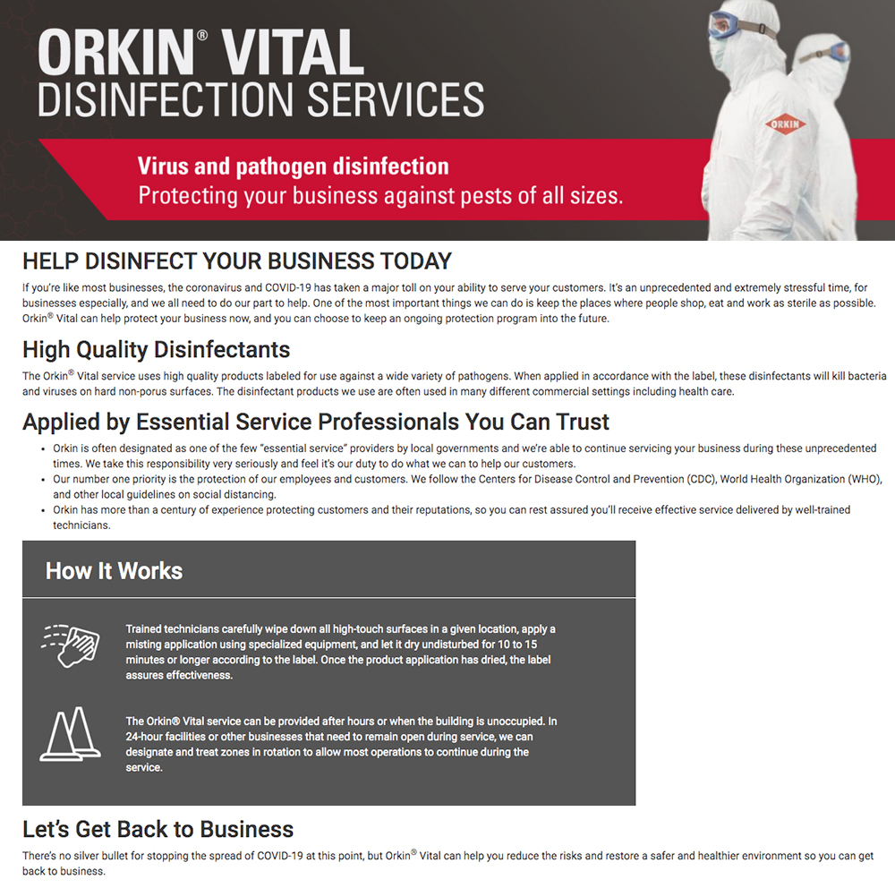 Orkin Vital Disinfection Services