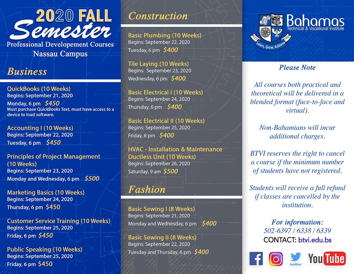 Fall 2020 Semester - Bahamas Technical & Vocational Institute (BTVI)