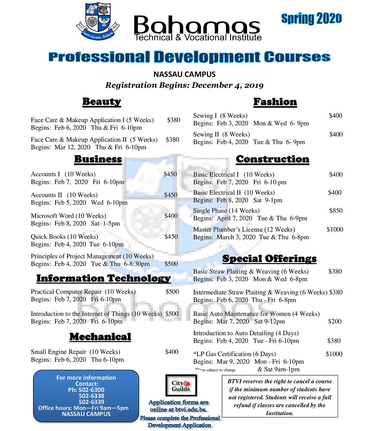 Bahamas Technical & Vocational Institute (BTVI) - Professional Development Services