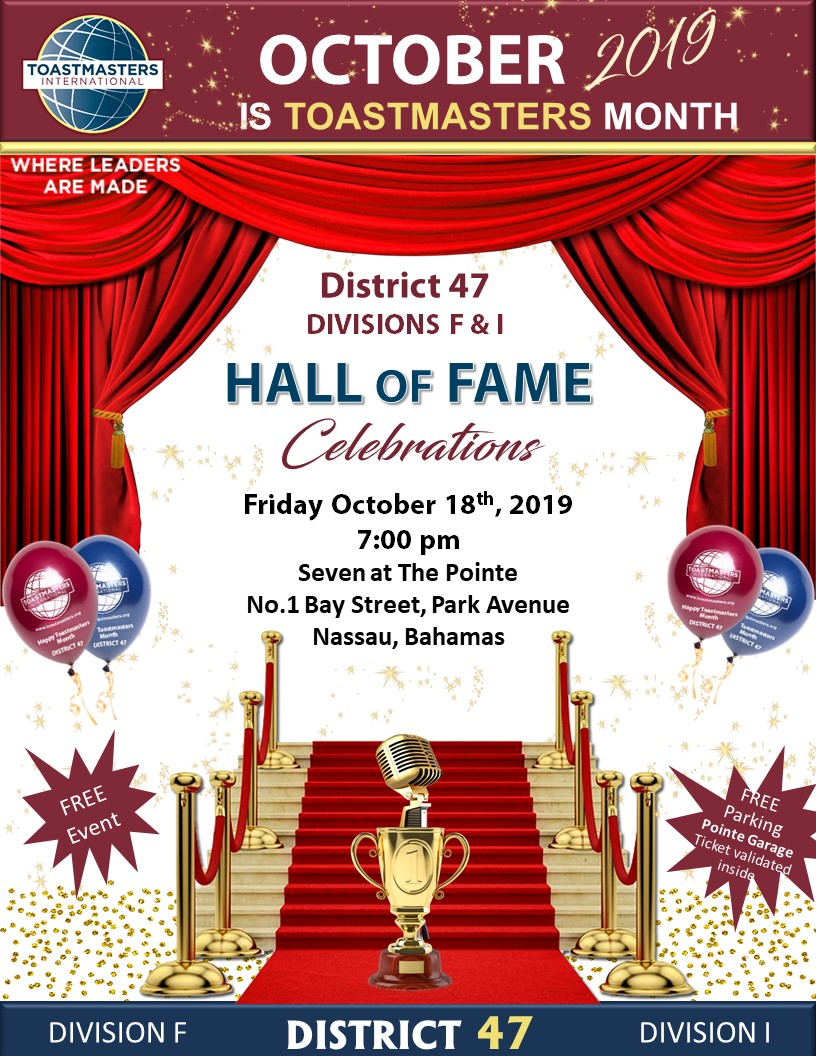 Toastmasters Hall of Fame Celebrations District 47, Division F & I