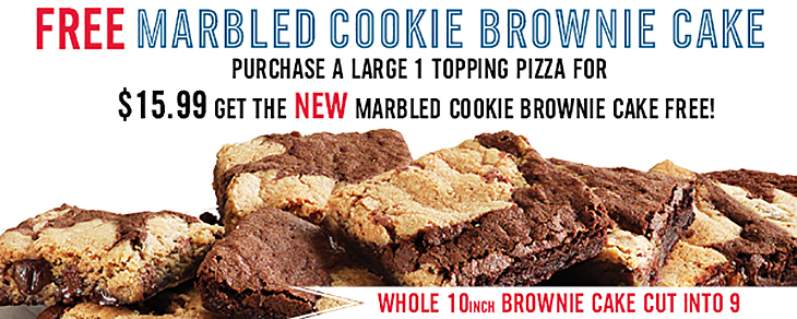 FREE Marble Cookie Brownie Cake with Dominos Pizza!