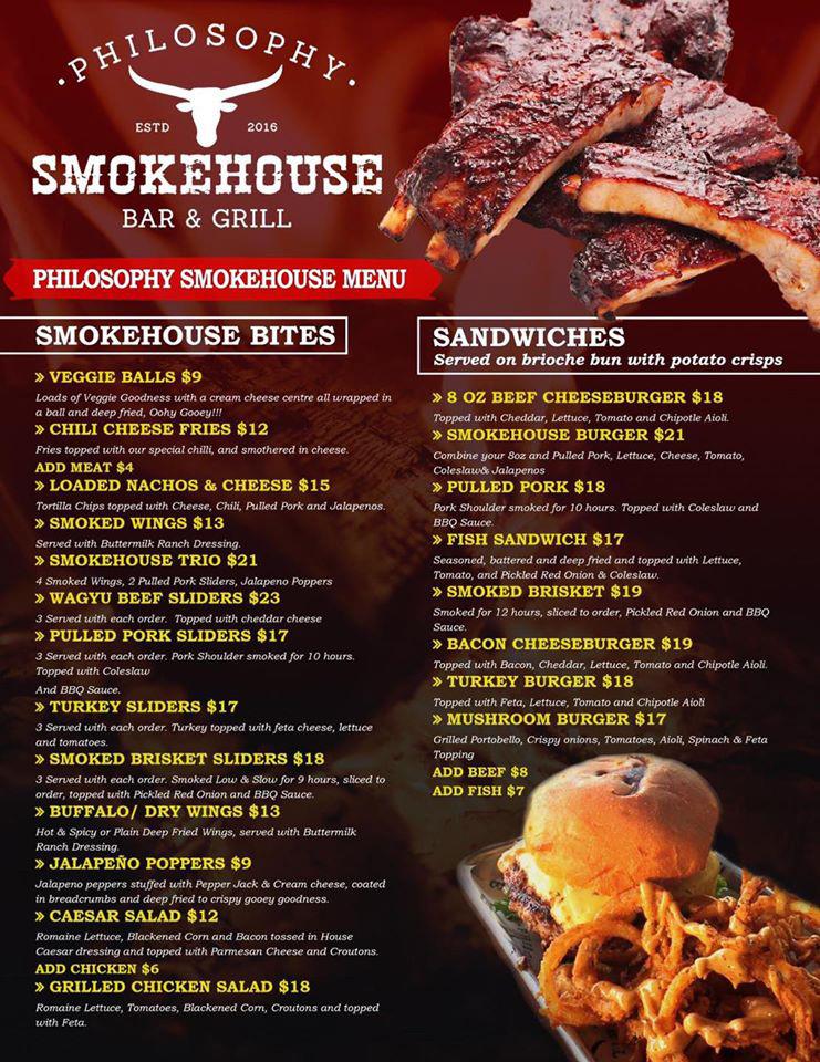 Philosophy Smokehouse - Bar & Grill Menu