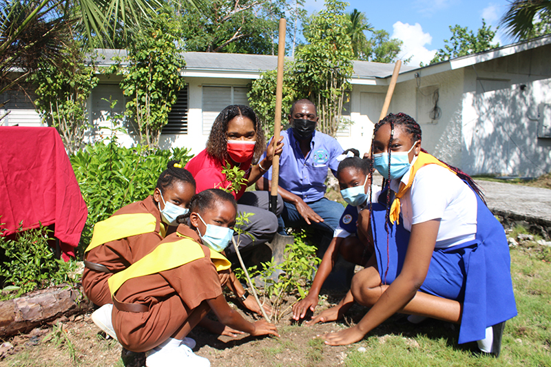 Brownies and girl guides help CIBC FirstCaribbean's Managing Director Dr. Jacqui Bend and the Ministry of Environment and Housing's Forestry Unit Director Mr. Christopher Russell to tamp down soil around a yellow elder tree planted as part of CIBC FirstCaribbean's 100th year banking anniversary tree planting celebrations.