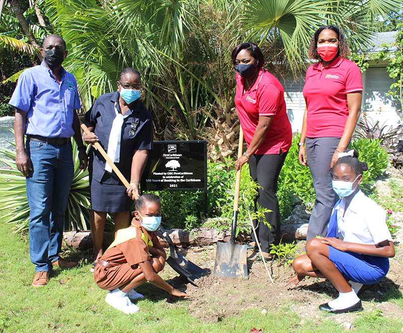Representatives from the Ministry of Environment and Housing's Forestry Unit, Bahamas Girl Guides Association and CIBC FirstCaribbean all participated in the bank's 100th year banking anniversary tree planting exercise at Camp Discovery in New Providence, where a commemorative plaque was placed to mark the occasion.