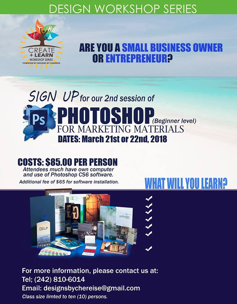 Photoshop for Marketing Materials (2nd session) Hosted by Graphic Designs by Chereise