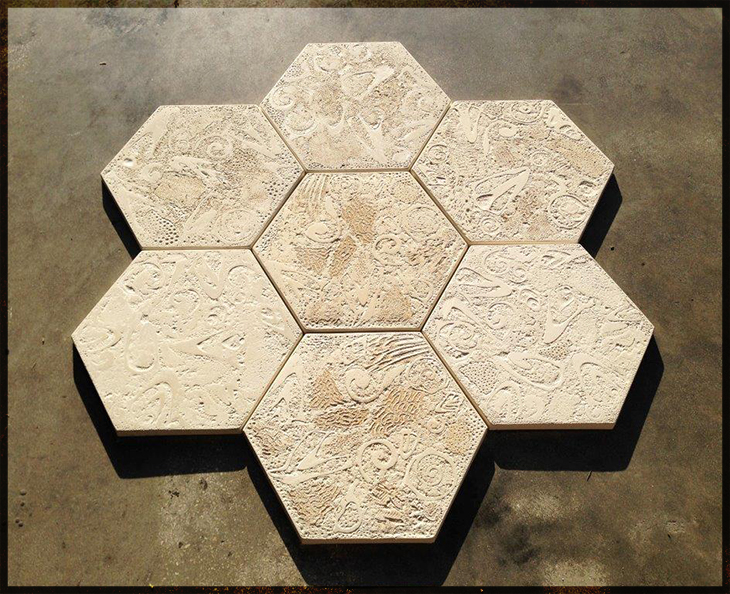 New Hexagon Conch and Coral Shell Stones at Pinder Tile