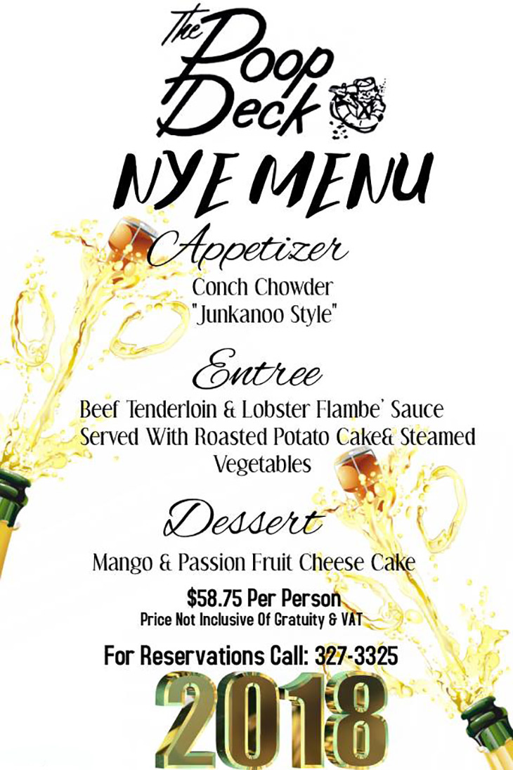 Join Us For New Years Eve, Traditional Menu & Our New Years Eve Dinner Special, Music From 10:00 PM Enjoy | At The Poop Deck at Sandyport