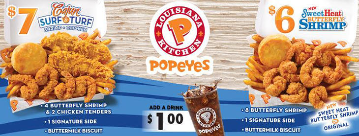 Popeyes Brand New Sweet Heat Butterfly Shrimp and Cajun Surf andTurf Shrimp & Chicken!