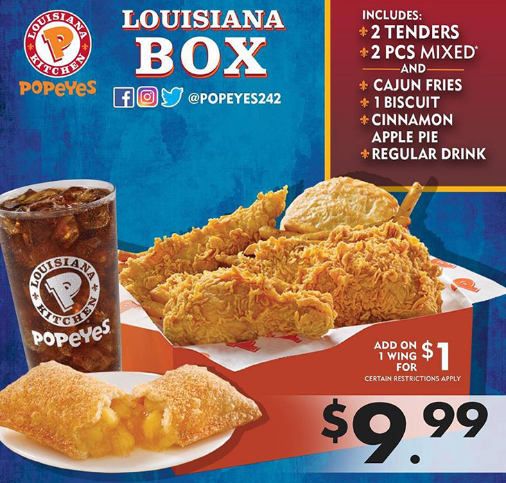 Popeyes Brand New 2 Tenders, 2 Pc Mixed, Cajun Fries, 1 Biscuit, Cinnamon Apple Pie and a Regular Drink!!