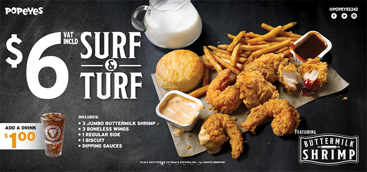 Popeyes $6! Try our new Surf and Turf featuring Buttermilk Shrimp