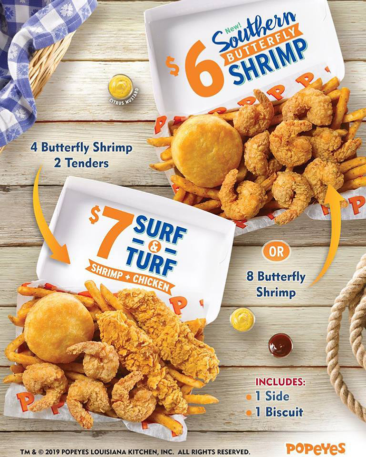 Popeyes | Southern Butterfly Shrimp for $6 or Surf & Turf (Shrimp&Chicken) for $7