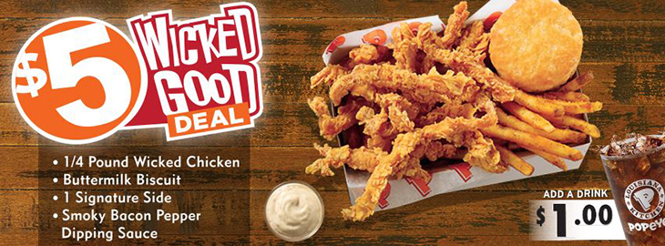 Popeyes Brand New $5 Wicked Deal!