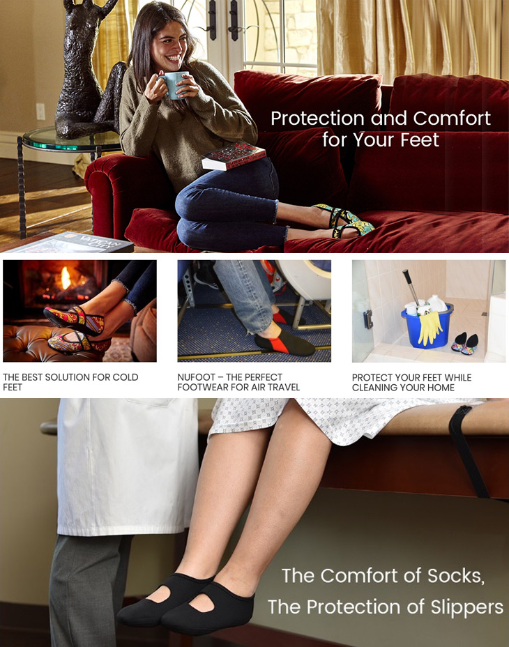 NuFoot Arrivals Just In! The Comfort of Socks, The Protection of Slippers! Great for Travel!