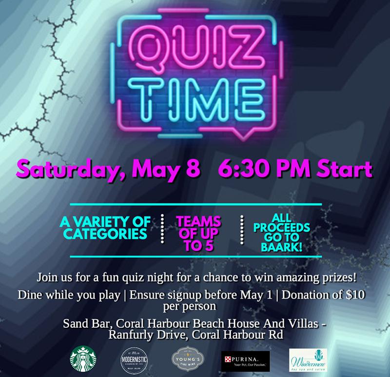 Quiz Night: SandBar Coral Harbour Saturday May 8th