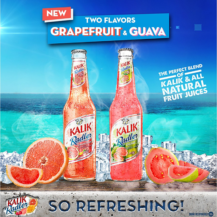 KALIK Radler, the official beer of summer, has added two NEW FLAVORS, Guava & Grapefruit