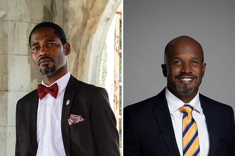 Ray-Don Poitier (left) and Donovan Rolle are among the competitors in the upcoming speech competitions of Toastmasters  International, a nonprofit educational organization which teaches public speaking and leadership skills through a world-wide  network of clubs.