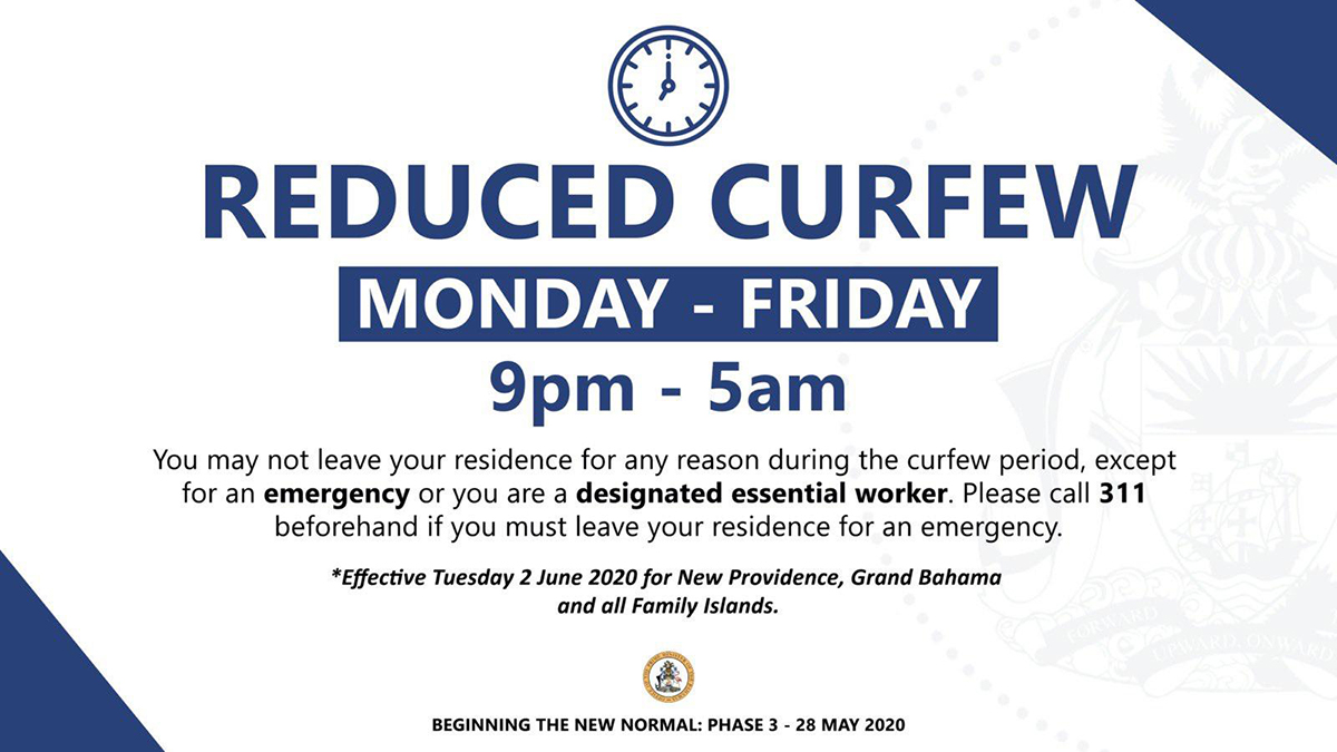 Reduced Curfew Effective Tuesday June 2nd
