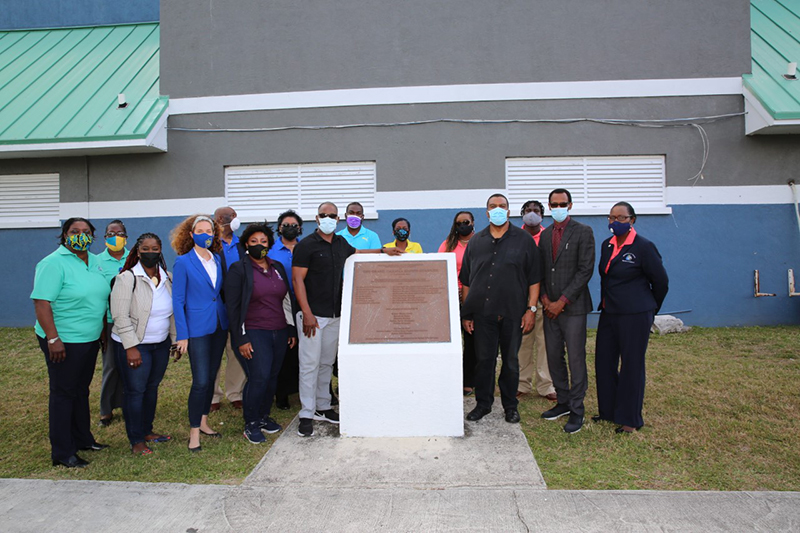 The Hon. Iram Lewis and staff in front of the Grand Bahama Sports Complex; the group departed for New Providence on Monday afternoon. (BIS Photo/Andrew Miller)
