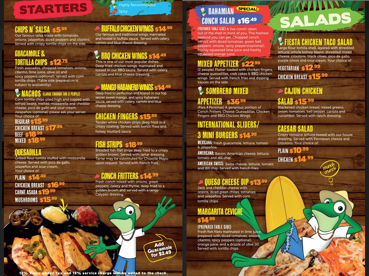 Senor Frogs App Menu