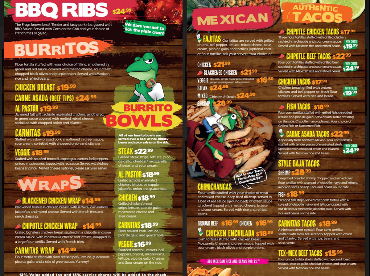 Senor Frogs Menu