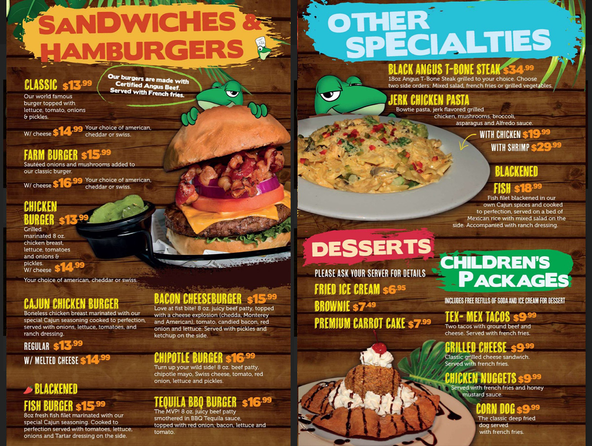 Senor Frogs Burgers and Sandwiches Menu
