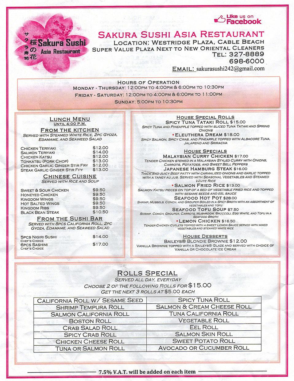 Sakura sushi asia restaurant nassau nassau paradise for Asia asian cuisine menu