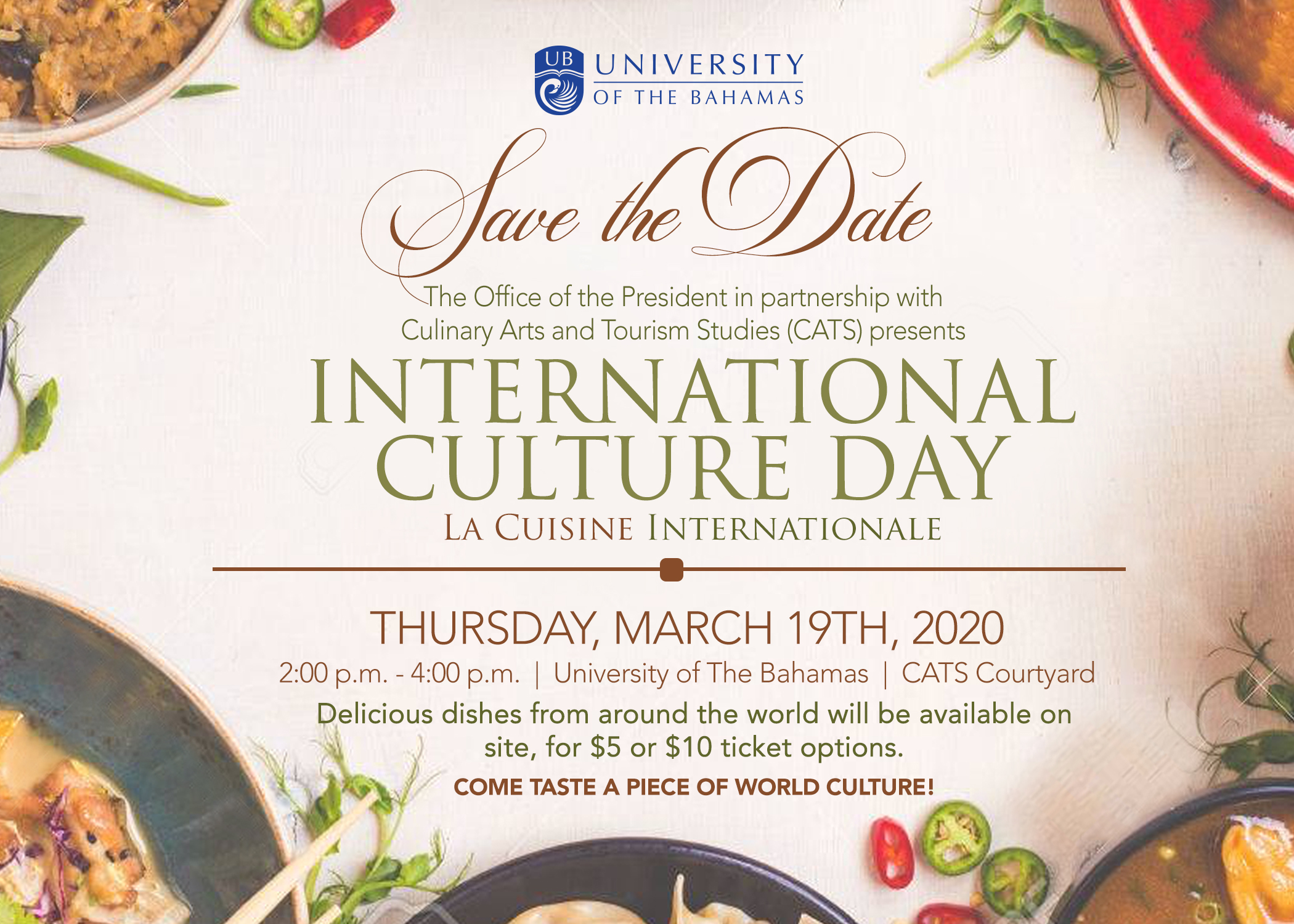 Experience the tastes of the world as UB culinary students take us on an exciting food journey with an assortment of international cuisine.