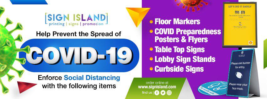 Sign Island - Help Prevent COVID