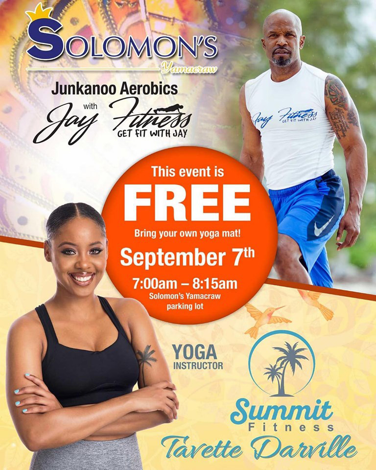 Solomon's Yamacraw for a powerful Junkanoo Aerobics class and Vinyasa Yoga cool down!