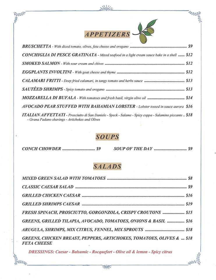 Spritz Restaurant & Bar Menu