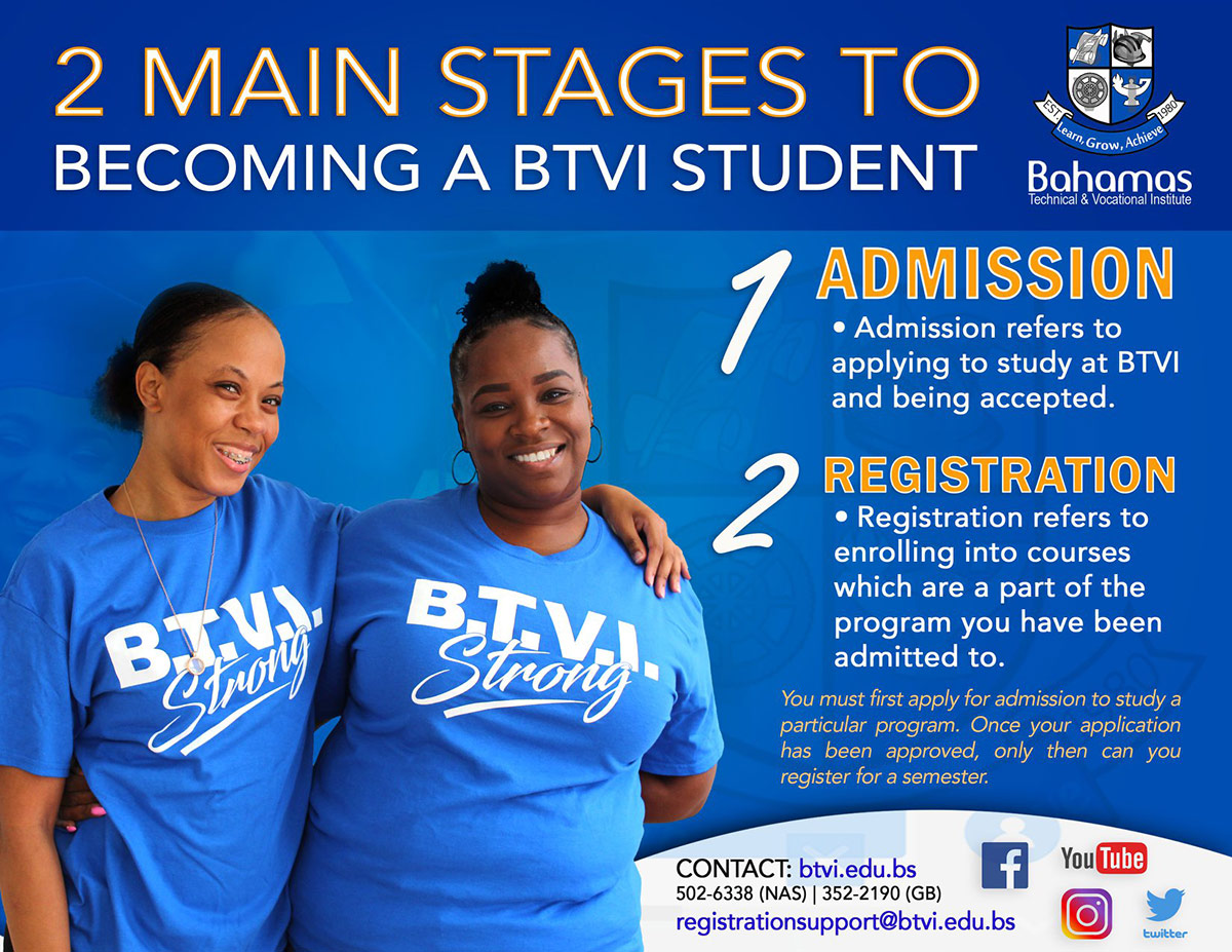 Two Main Stage of Becoming A Student at Bahamas Technical & Vocational Institute (BTVI)