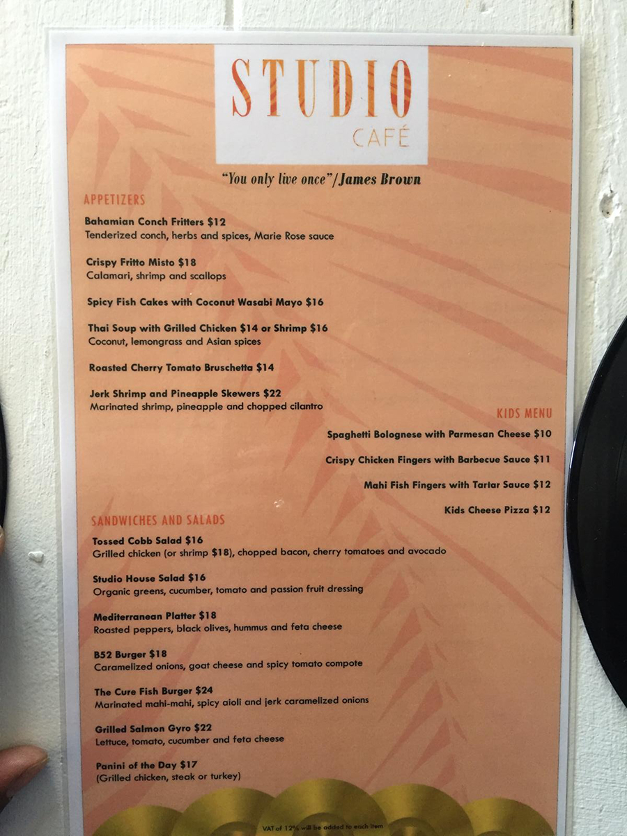 Studio Cafe Menu
